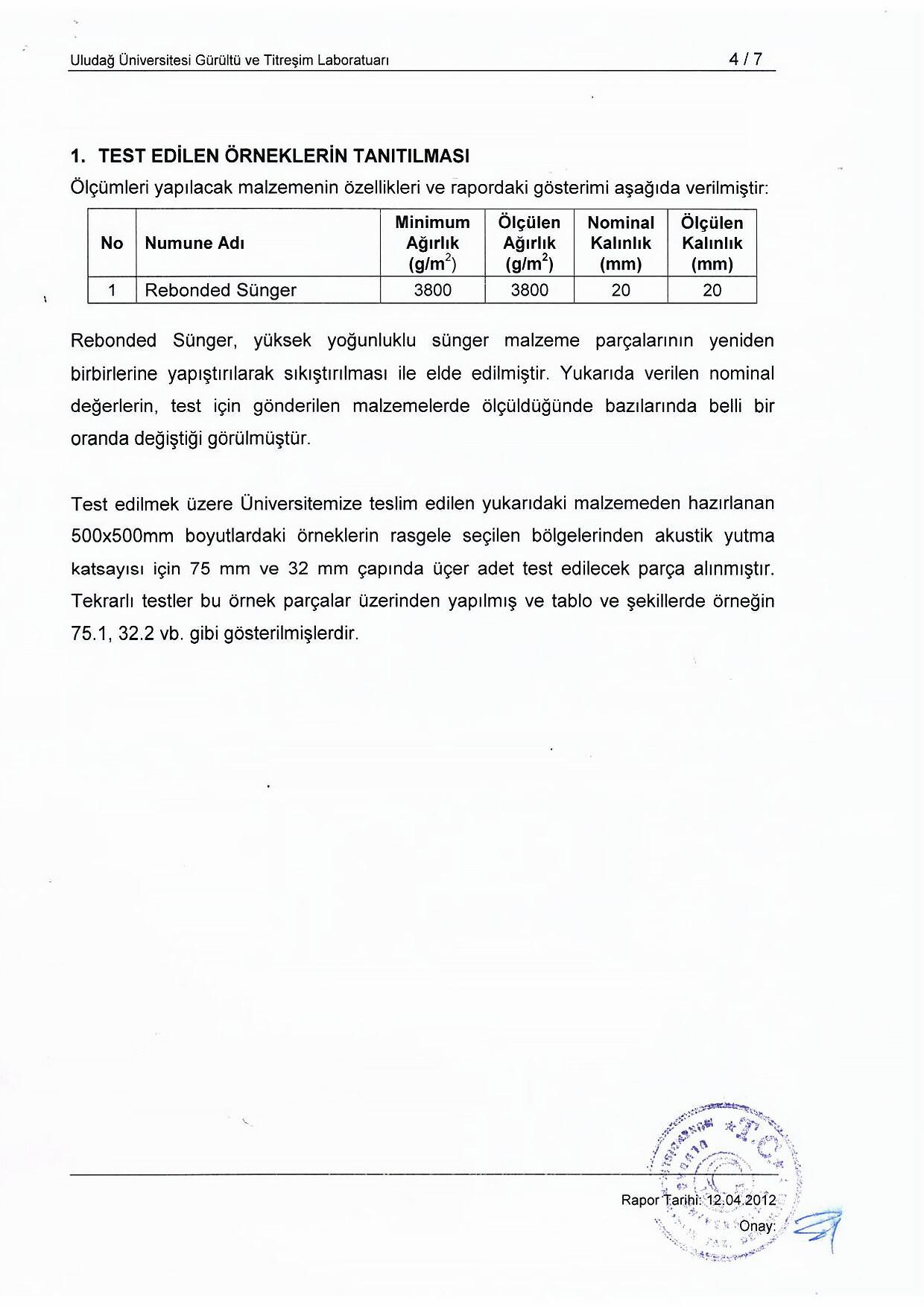 Rebonded Süngerpan Kalite Sertifikası Uludağ Üniversitesi